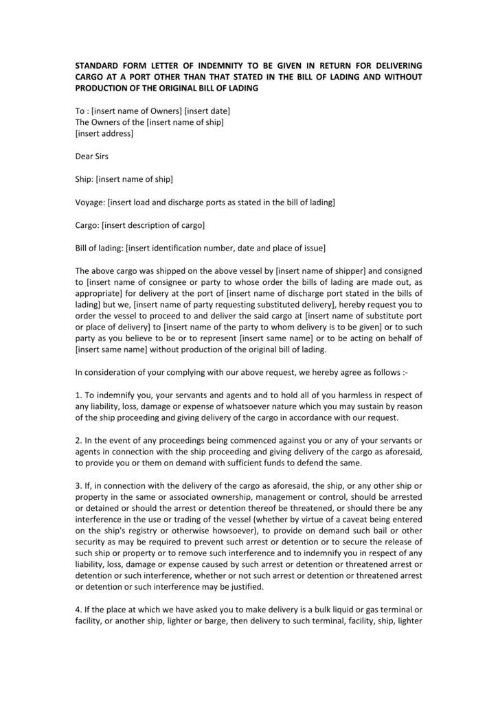 Standard form letter of indemnity to be given in return for delivering altavistaventures Image collections