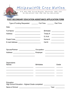post-secondary education assistance application form