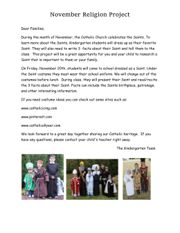 November Religion Project Dear Families, During the month of