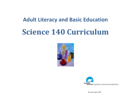 Science 140 Curriculum - Education, Culture and Employment