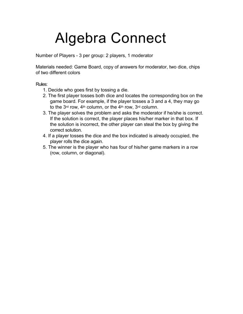 Game Algebra Connect