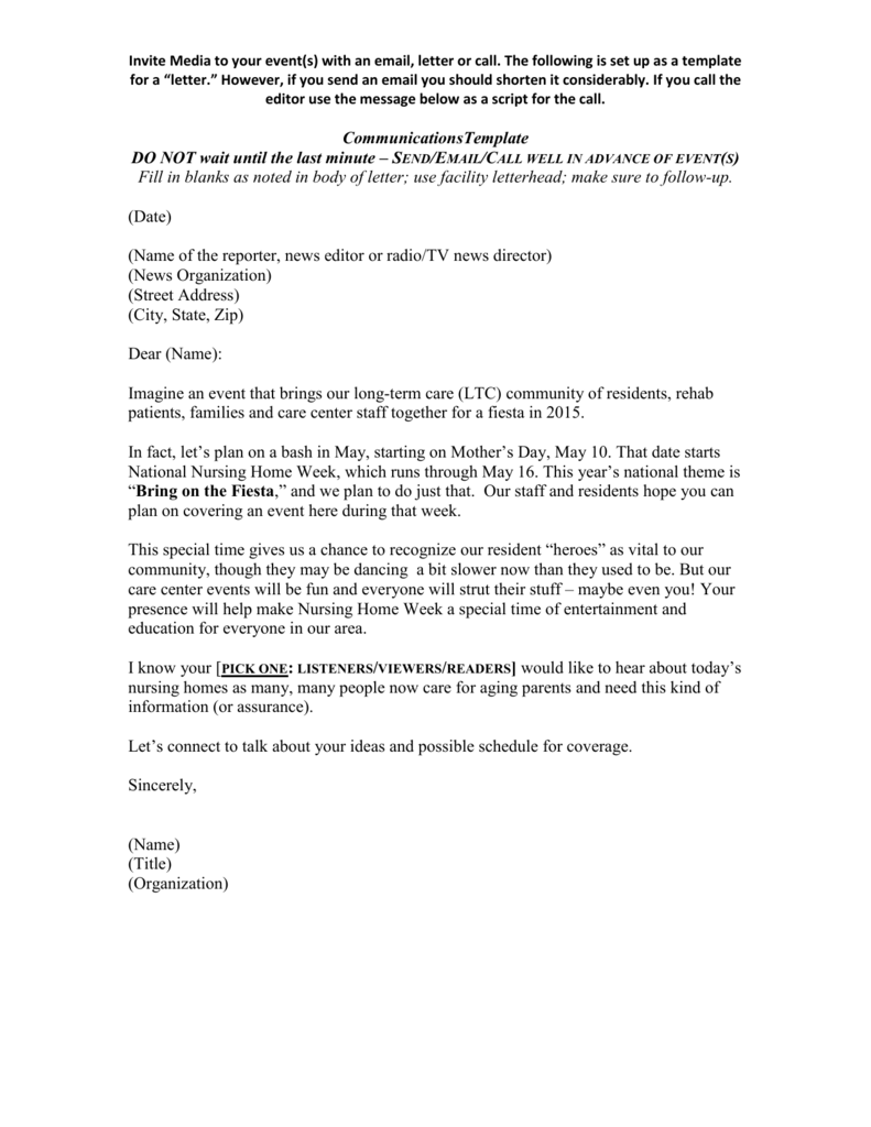 Sample Invitation Letter To Media And Others 2015