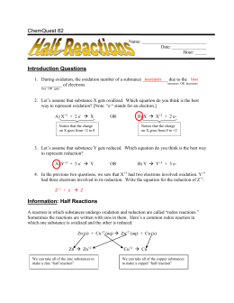 Information: Half Reactions