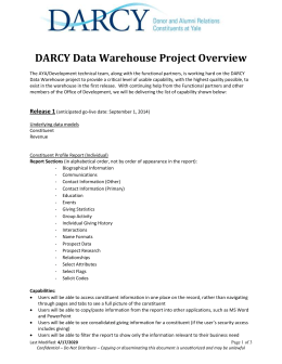 DARCY Data Warehouse Project Overview