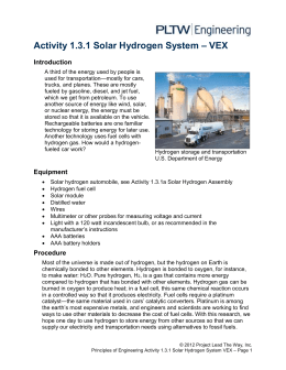 Activity 1.3.1 Solar Hydrogen System – VEX Introduction