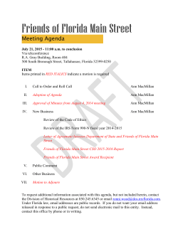 Draft Friends of Florida Main Street Agenda