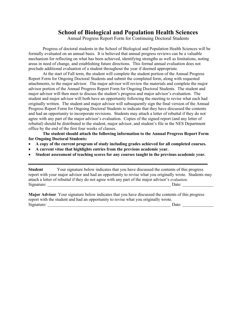 Annual Progress Report Form For Continuing Doctoral Students