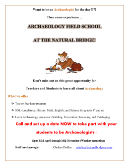 Archaeology Field School Flyer