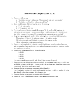 Homework for Chapter 5 (and 2.2.4)
