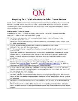 Prepare for a Quality Matters Publisher Course Review