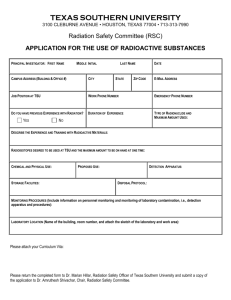 Radioactive Substances Application