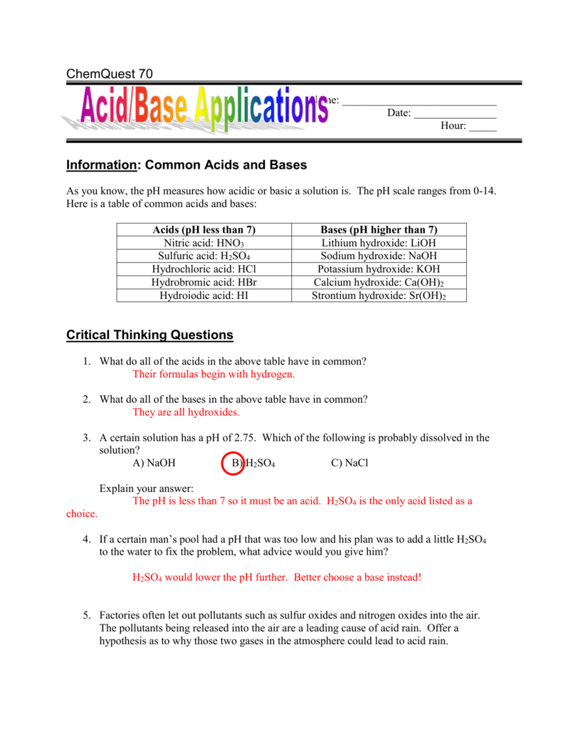 Information: Common Acids and Bases