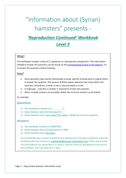 File - Information on Syrian hamsters