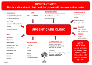 urgent care symptoms document