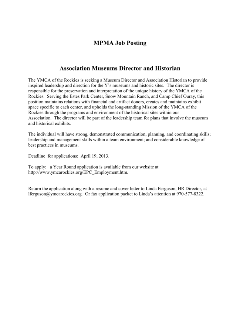 Mpma Job Posting Association Museums Director And Historian