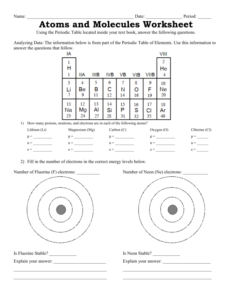 atoms and molecules worksheet resultinfos. Black Bedroom Furniture Sets. Home Design Ideas
