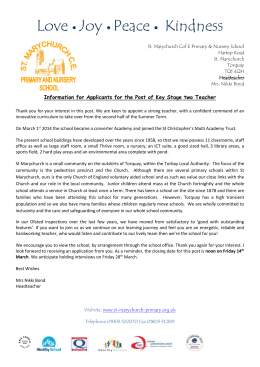 Letter to applicants - St Marychurch C of E Primary & Nursery
