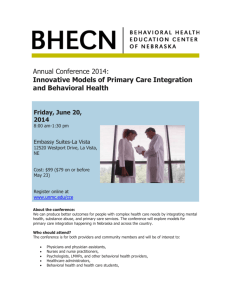 Innovative Models of Primary Care Integration and Behavioral