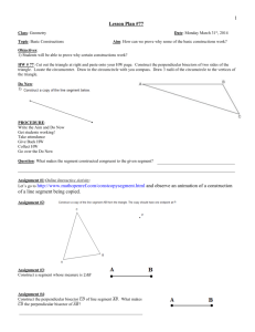 Geometry Fall 2011 Lesson 17 (S.A.S. Postulate)