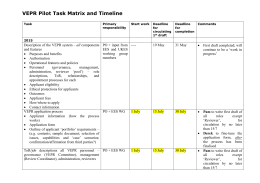 VEPR Pilot Task Matrix and Timeline