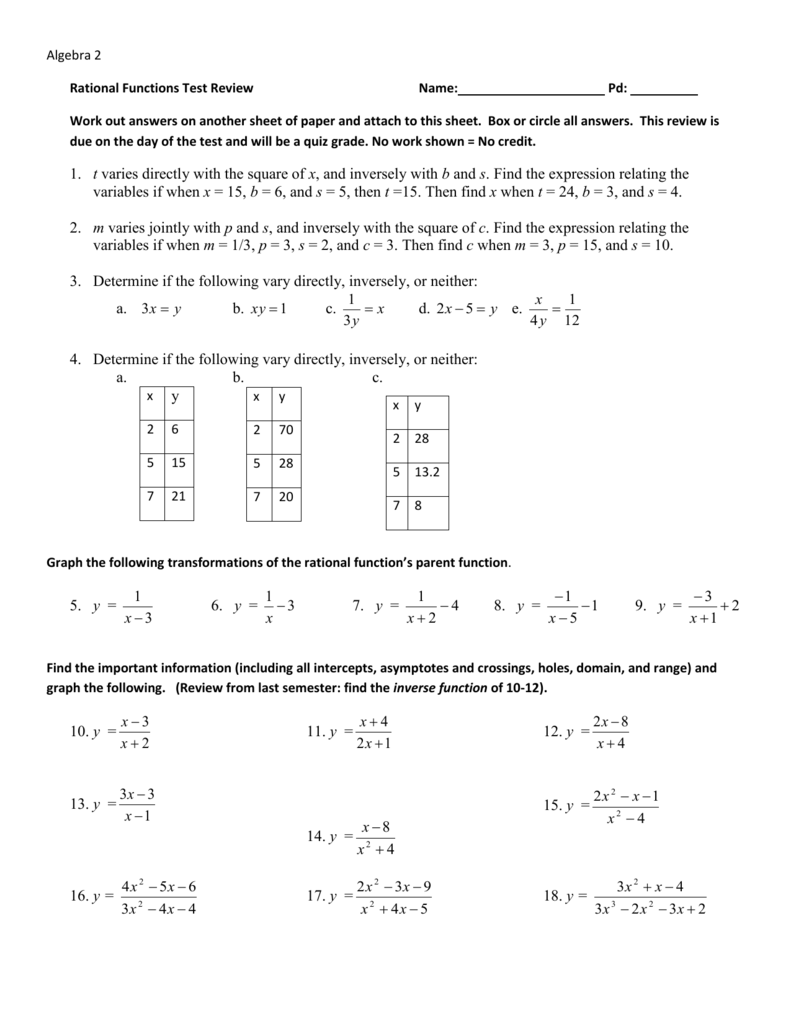 Algebra 2 Rational Functions Test Review Name: Pd: Work out