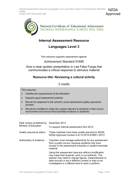 Level 3 Languages internal assessment resource