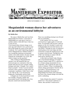 Sheguiandah woman shares her adventures as an environmental