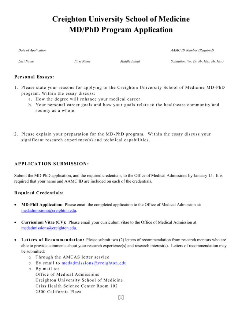 MD-PhD Application - Creighton University School of Medicine