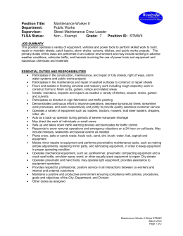 Maintenance Job Description | Street Maintenance Crew Leader Job Description