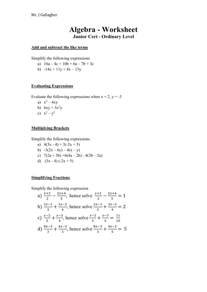 Algebra Worksheet Junior Cert