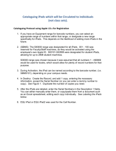 District Protocol for Cataloguing iPads