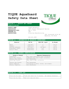 2015 TIQUE AquaGuard SDS