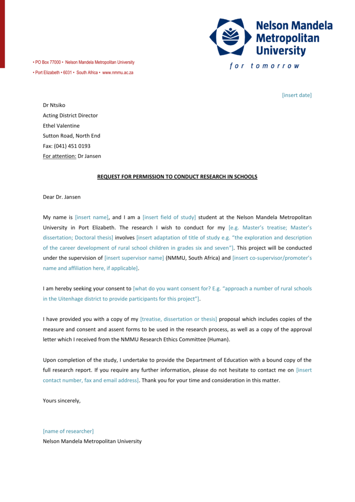 Example Letter For Permission To Conduct Research