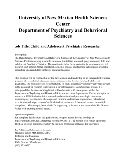 Child and Adolescent Psychiatry Researcher