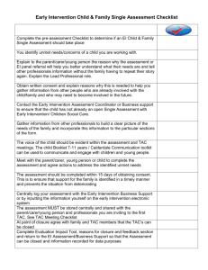 Early Intervention child and family single assessment checklist