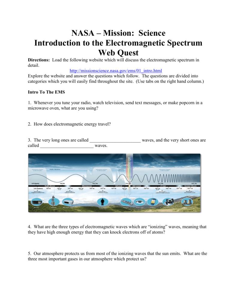 NASA EM Spectrum Webquest - MSTA Conference