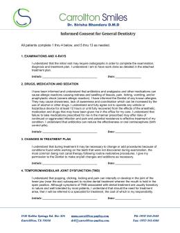dental treatment consent form - the Oak Cliff Dental Center.com