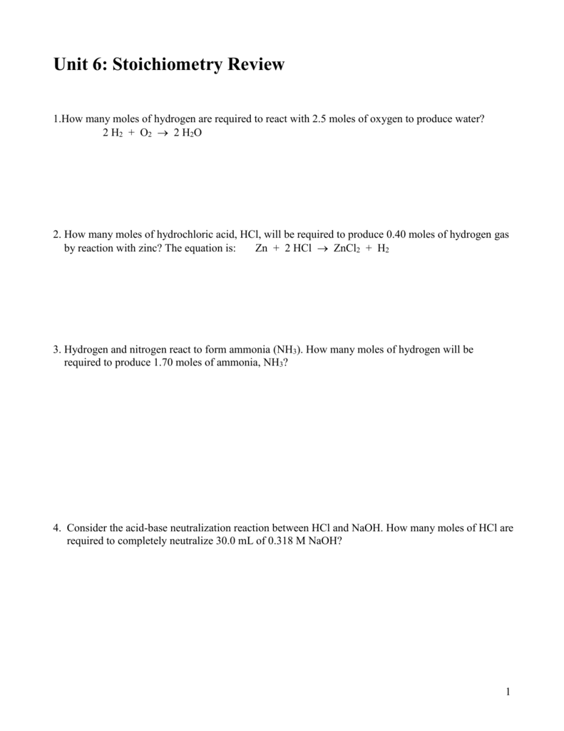 worksheet Stoichiometry Review Worksheet unit 6 stoichiometry review