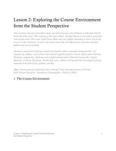 Lesson 2: Exploring the Course Environment from the Student