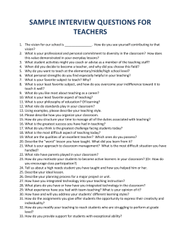 4J Sample Interview Questions for Teachers