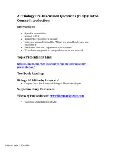 Summer Assignments - Mrs Meyer`s AP Biology Class