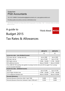 Guide to budge tax rates - allowances 2015