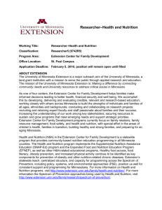 UofMinn Researcher - Health and Nutrition