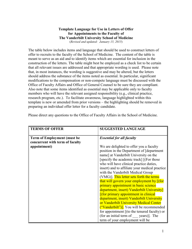 Faculty Affairs Offer Letter Template Language
