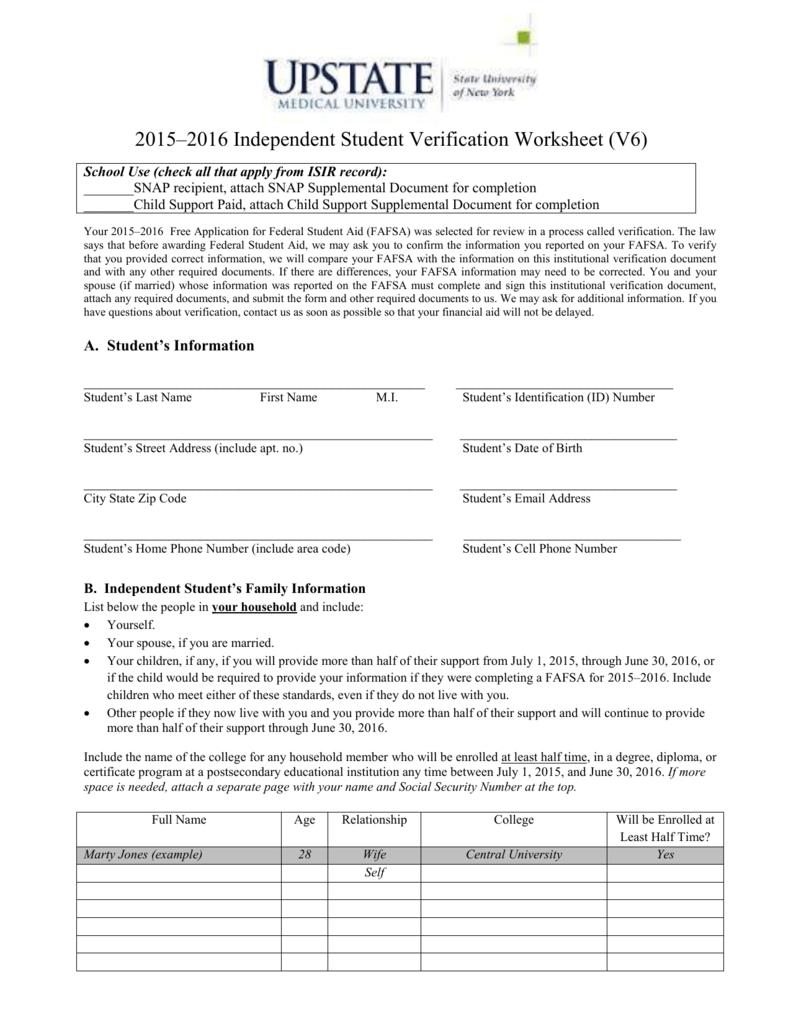 Worksheets Independent Verification Worksheet verification worksheet independent v6