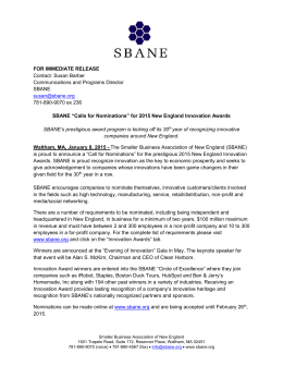 2015 Innovation Press Release - Smaller Business Association of