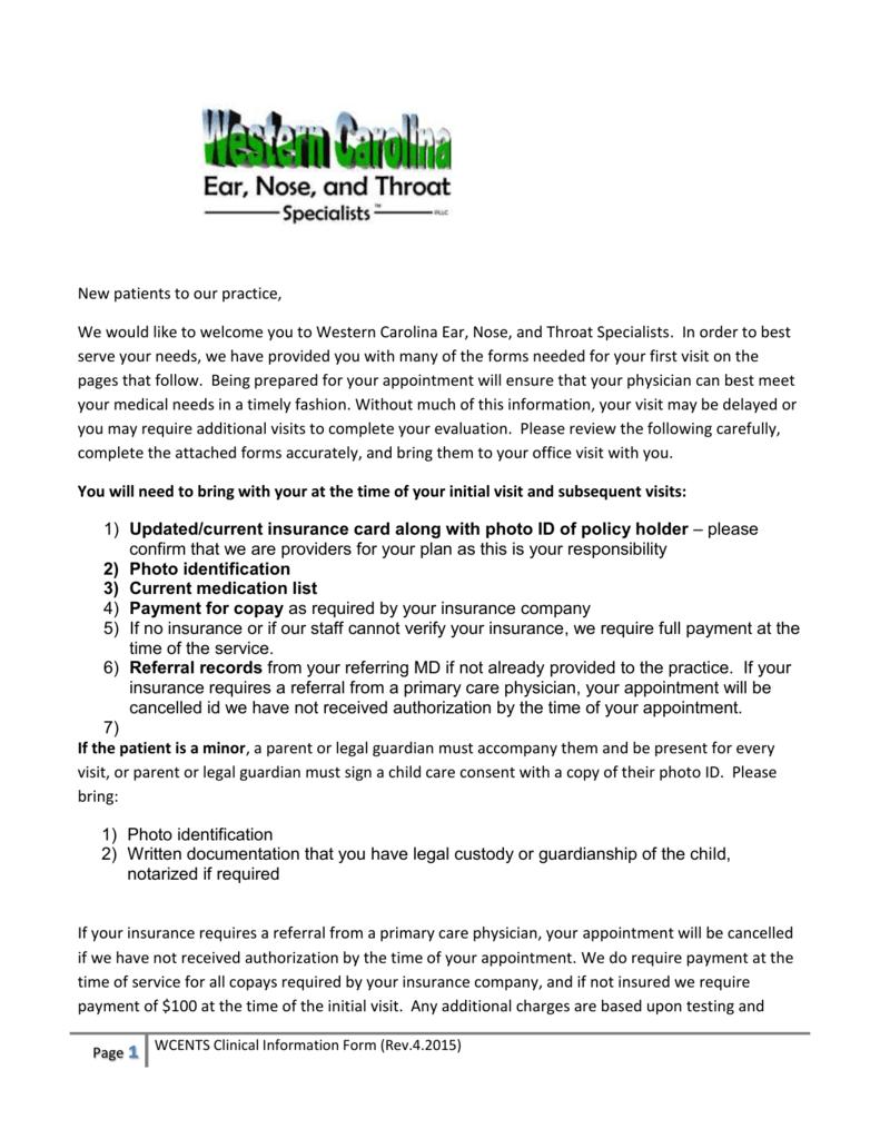 New Patient Clinical Information Form on patient medicare co-pays, patient co-pay receipt, patient advocate letter, patient co-pay cartoons, patient access network, patient day sheet, patient benefits,