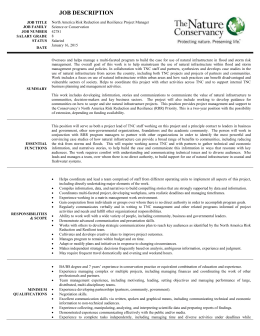 RRR Project Manager Position Description