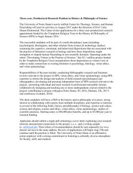 Postdoctoral Research Position in History & Philosophy of Science