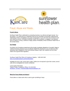 Sunflower Fraud, Abuse and Waste